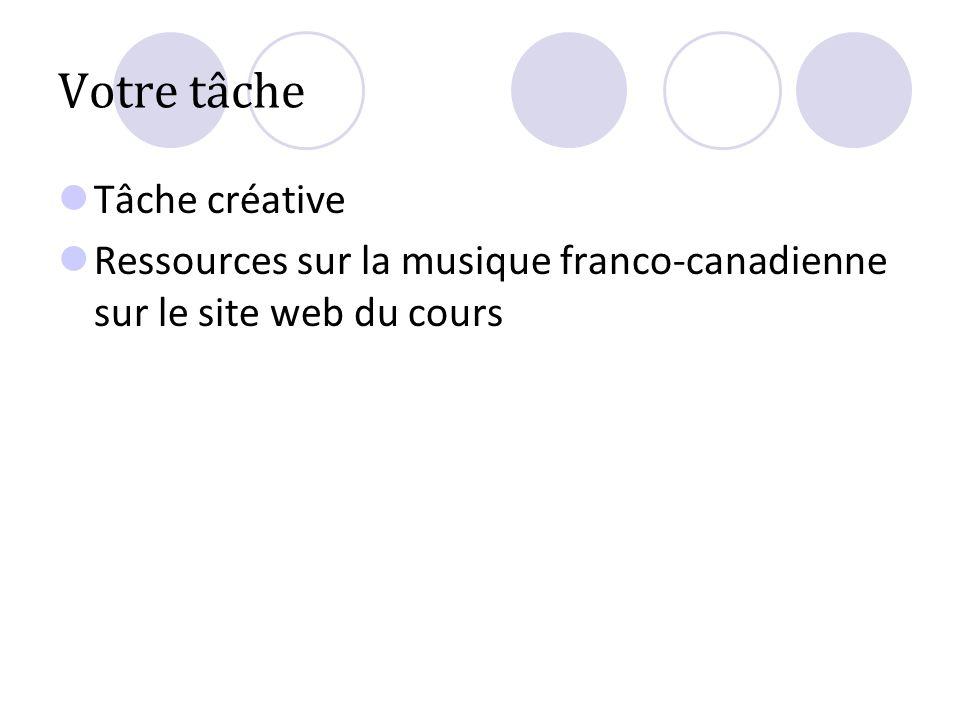 Votre tâche Tâche créative Ressources sur la musique franco-canadienne sur le site web du cours