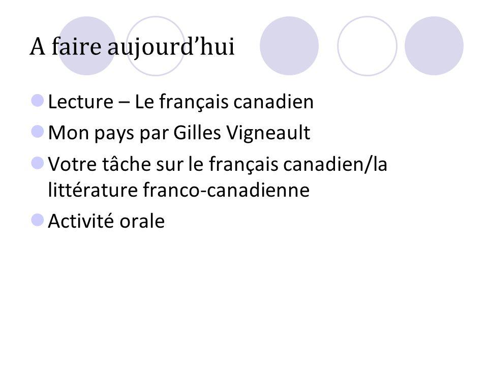 A faire aujourdhui Lecture – Le français canadien Mon pays par Gilles Vigneault Votre tâche sur le français canadien/la littérature franco-canadienne