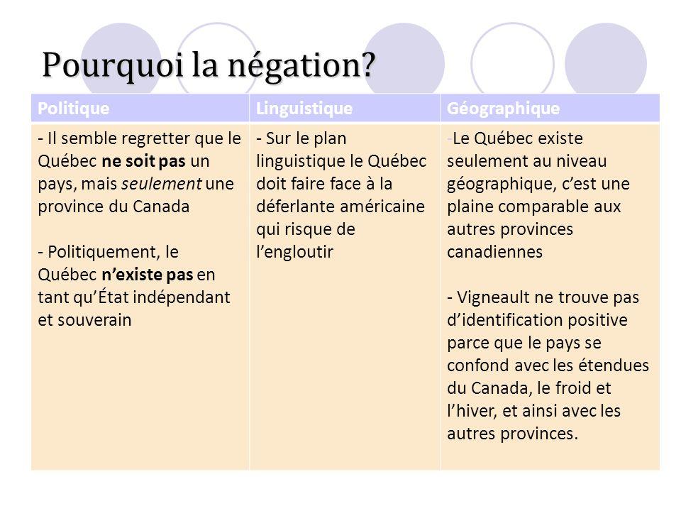 Pourquoi la négation? PolitiqueLinguistiqueGéographique - Il semble regretter que le Québec ne soit pas un pays, mais seulement une province du Canada