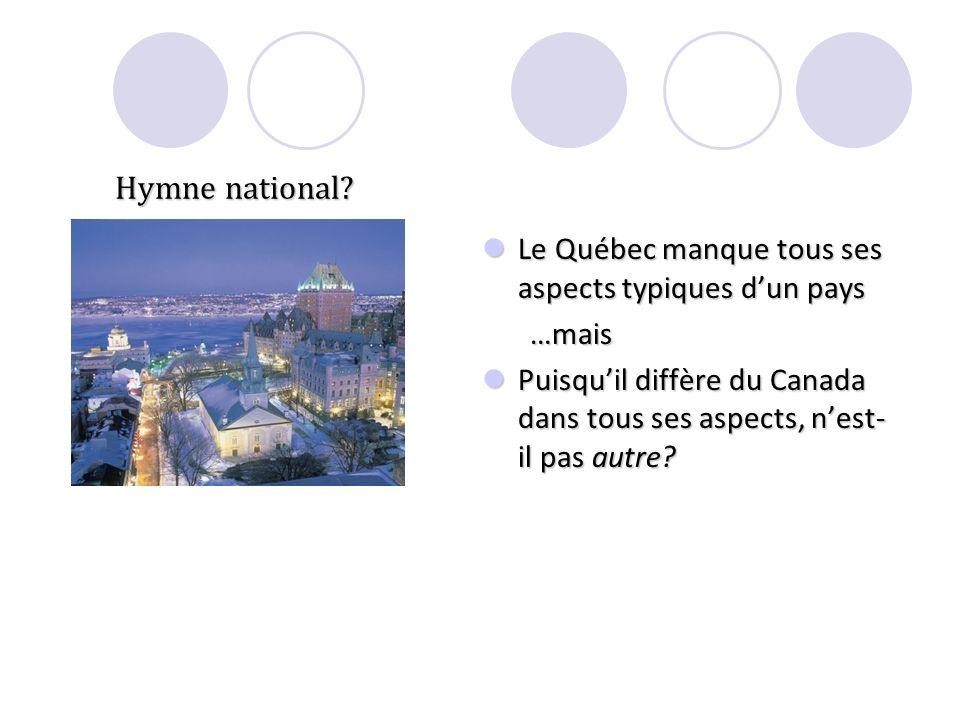 Hymne national? Le Québec manque tous ses aspects typiques dun pays Le Québec manque tous ses aspects typiques dun pays…mais Puisquil diffère du Canad