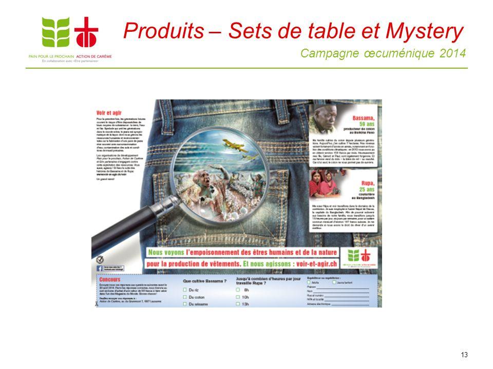 Campagne œcuménique 2014 13 Produits – Sets de table et Mystery
