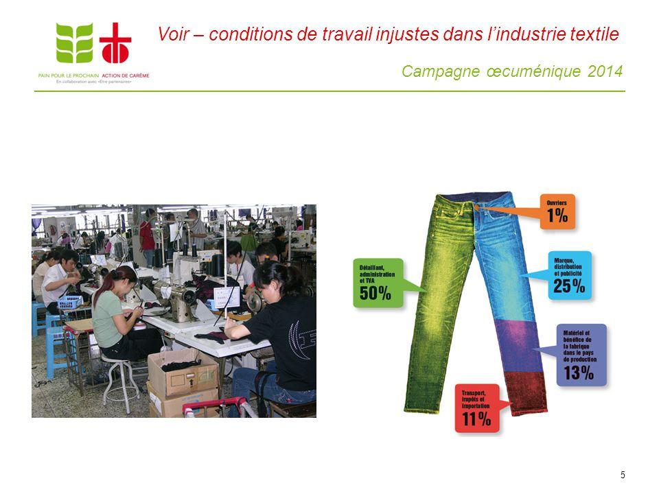 Campagne œcuménique 2014 5 Voir – conditions de travail injustes dans lindustrie textile