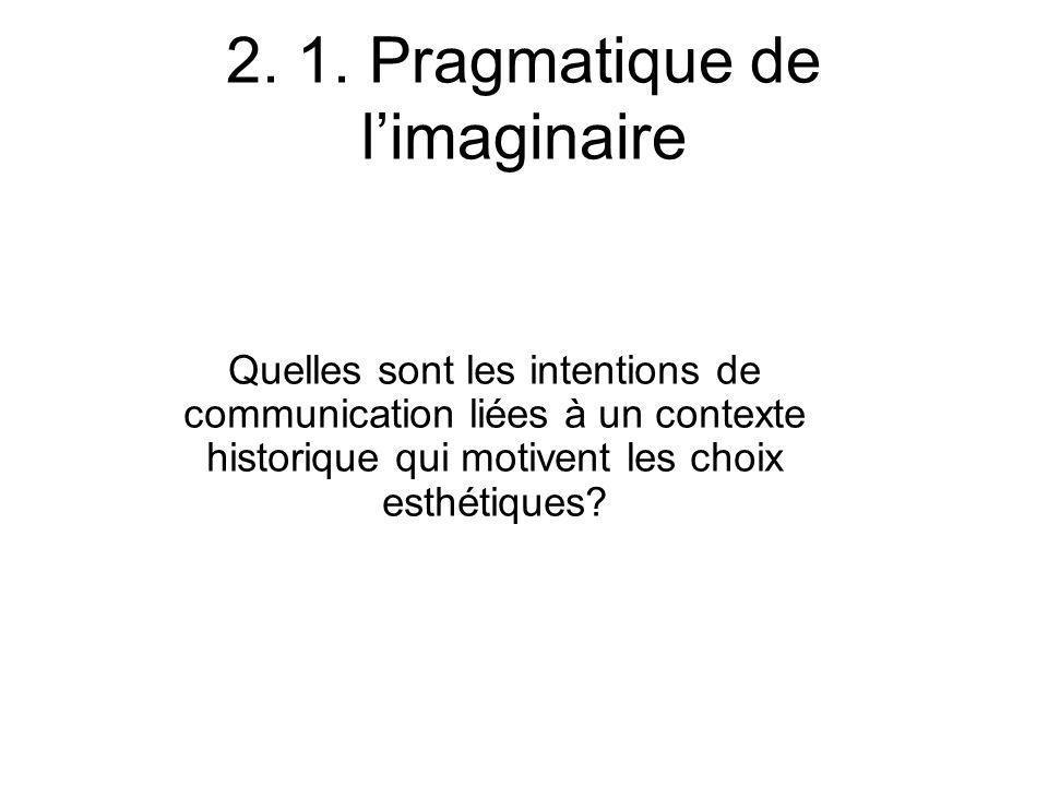 2. 1. Pragmatique de limaginaire Quelles sont les intentions de communication liées à un contexte historique qui motivent les choix esthétiques?