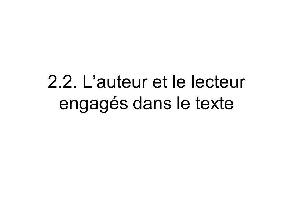 2.2. Lauteur et le lecteur engagés dans le texte