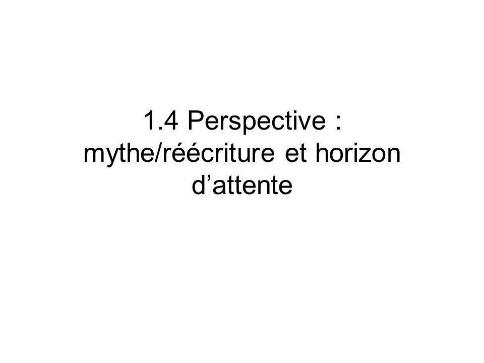 1.4 Perspective : mythe/réécriture et horizon dattente