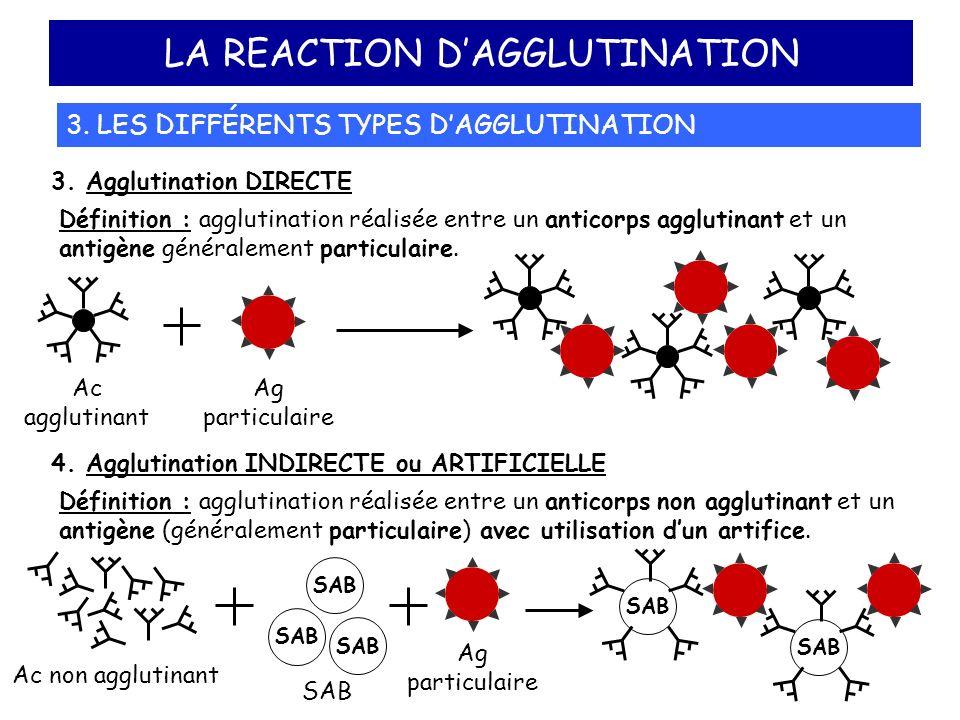 LA REACTION DAGGLUTINATION 3. LES DIFFÉRENTS TYPES DAGGLUTINATION 3. Agglutination DIRECTE Définition : agglutination réalisée entre un anticorps aggl