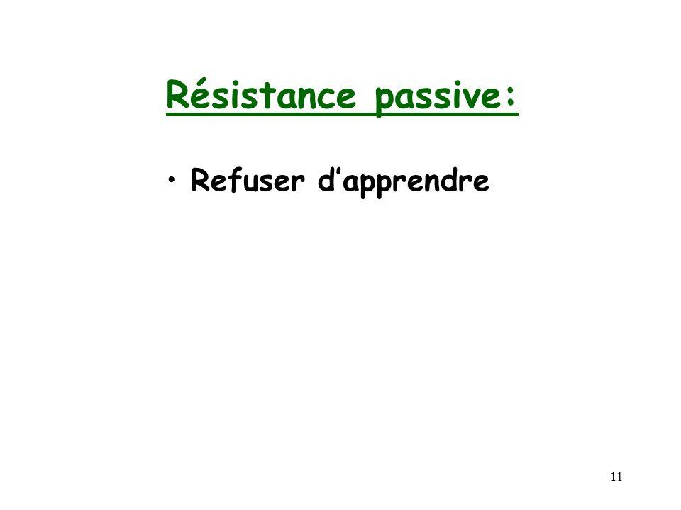 11 Résistance passive: Refuser dapprendre