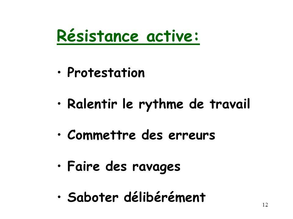 12 Résistance active: Protestation Ralentir le rythme de travail Commettre des erreurs Faire des ravages Saboter délibérément