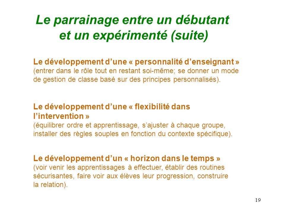 19 Le parrainage entre un débutant et un expérimenté (suite) Le développement dun « horizon dans le temps » (voir venir les apprentissages à effectuer