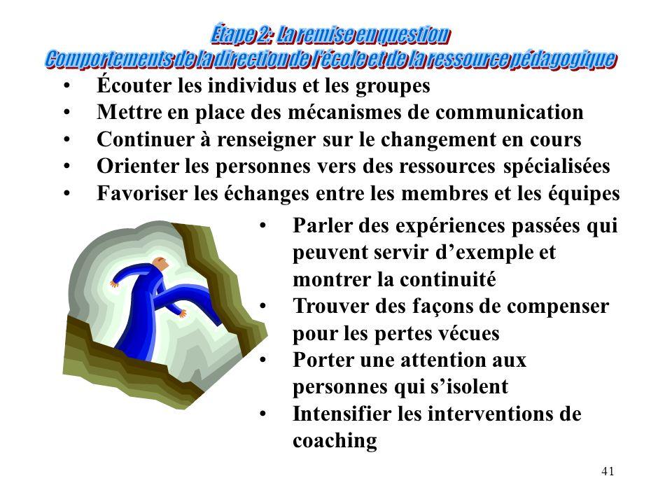 41 Écouter les individus et les groupes Mettre en place des mécanismes de communication Continuer à renseigner sur le changement en cours Orienter les