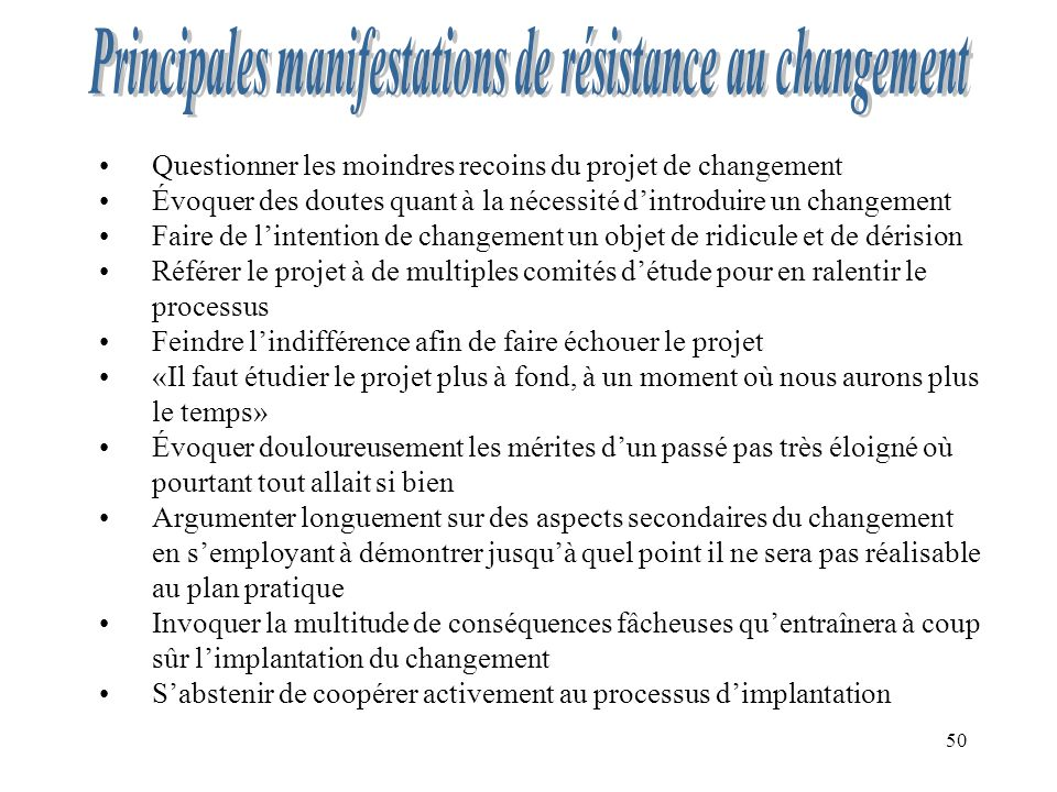 50 Questionner les moindres recoins du projet de changement Évoquer des doutes quant à la nécessité dintroduire un changement Faire de lintention de c