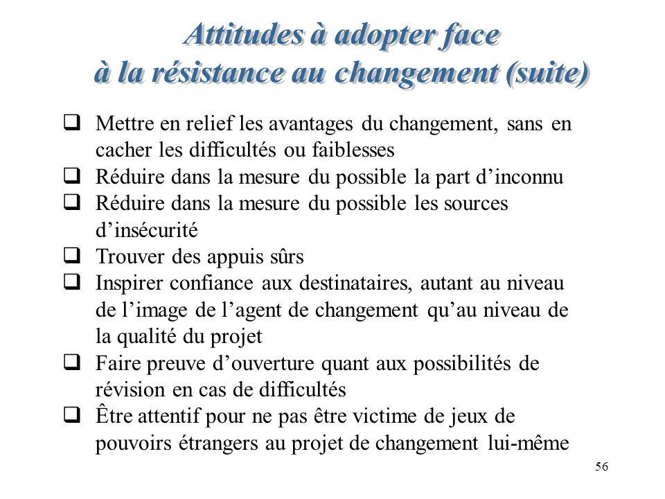 56 Mettre en relief les avantages du changement, sans en cacher les difficultés ou faiblesses Réduire dans la mesure du possible la part dinconnu Rédu