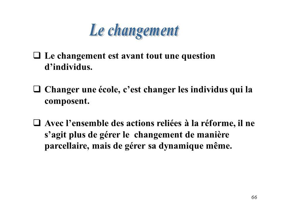 66 Le changement est avant tout une question dindividus. Changer une école, cest changer les individus qui la composent. Avec lensemble des actions re