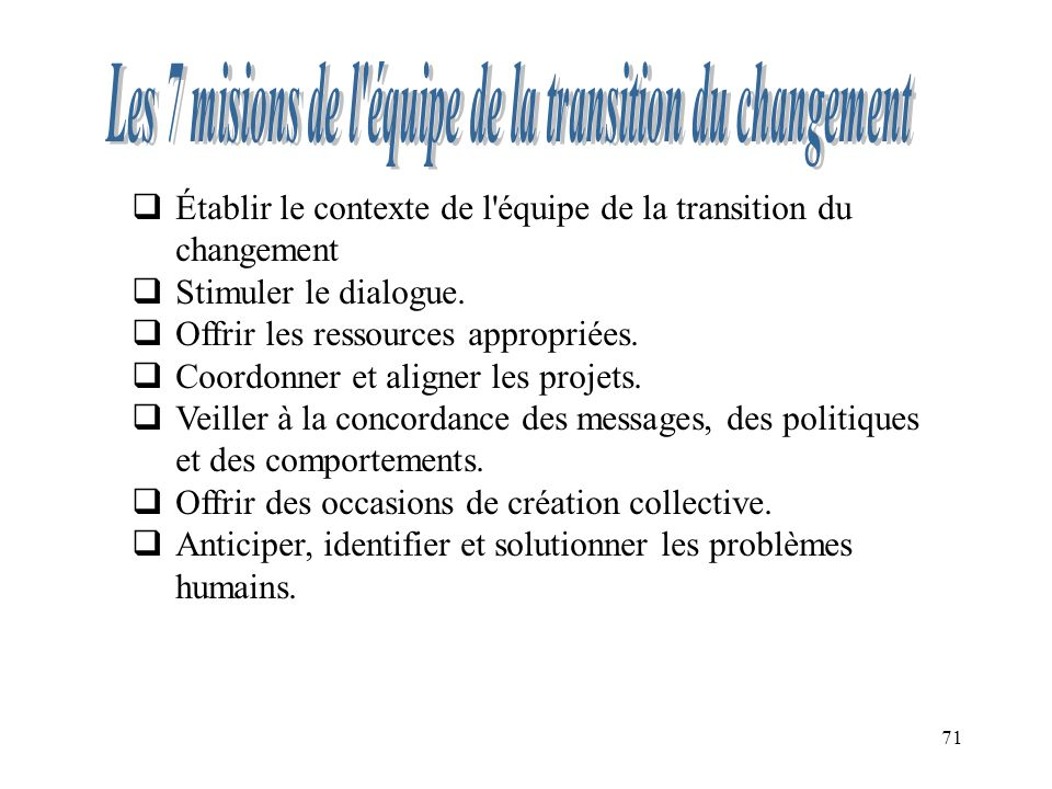 71 Établir le contexte de l'équipe de la transition du changement Stimuler le dialogue. Offrir les ressources appropriées. Coordonner et aligner les p