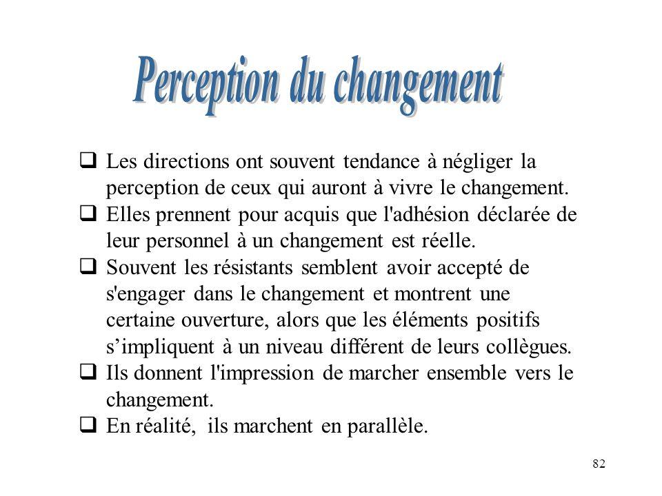82 Les directions ont souvent tendance à négliger la perception de ceux qui auront à vivre le changement. Elles prennent pour acquis que l'adhésion dé