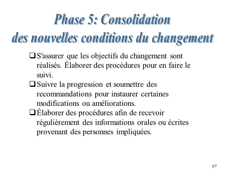 97 S'assurer que les objectifs du changement sont réalisés. Élaborer des procédures pour en faire le suivi. Suivre la progression et soumettre des rec