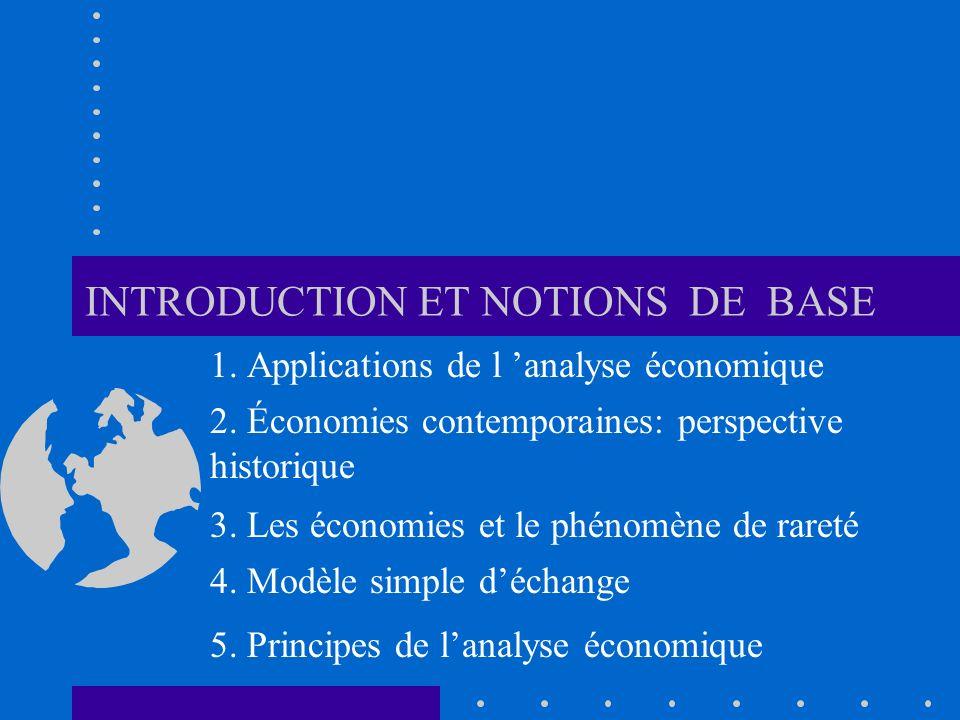 INTRODUCTION ET NOTIONS DE BASE 1. Applications de l analyse économique 2. Économies contemporaines: perspective historique 3. Les économies et le phé