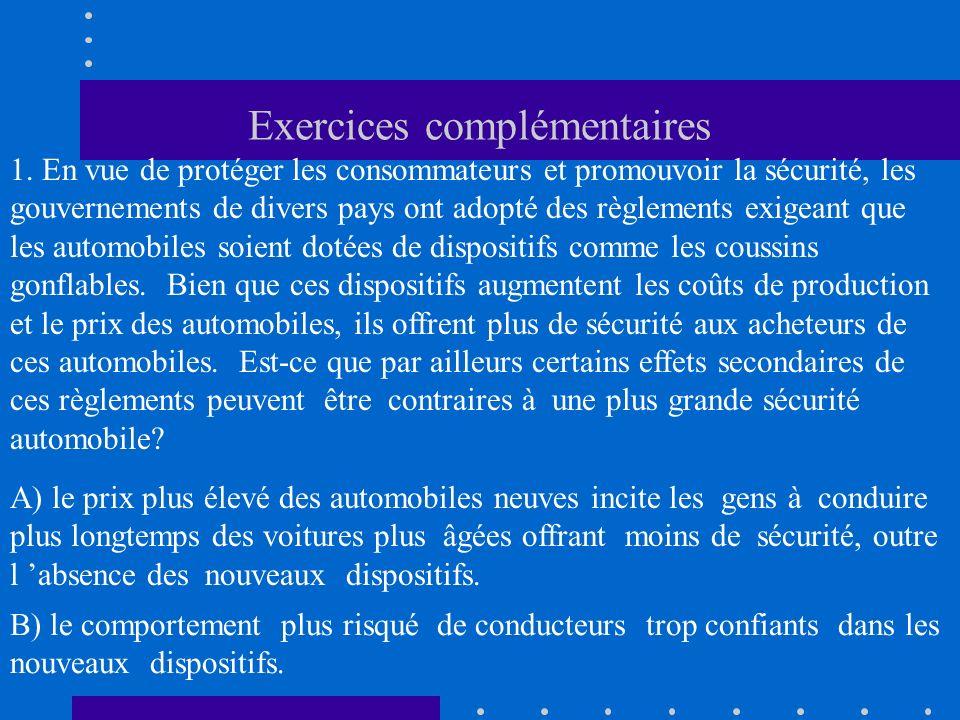 Exercices complémentaires 1. En vue de protéger les consommateurs et promouvoir la sécurité, les gouvernements de divers pays ont adopté des règlement