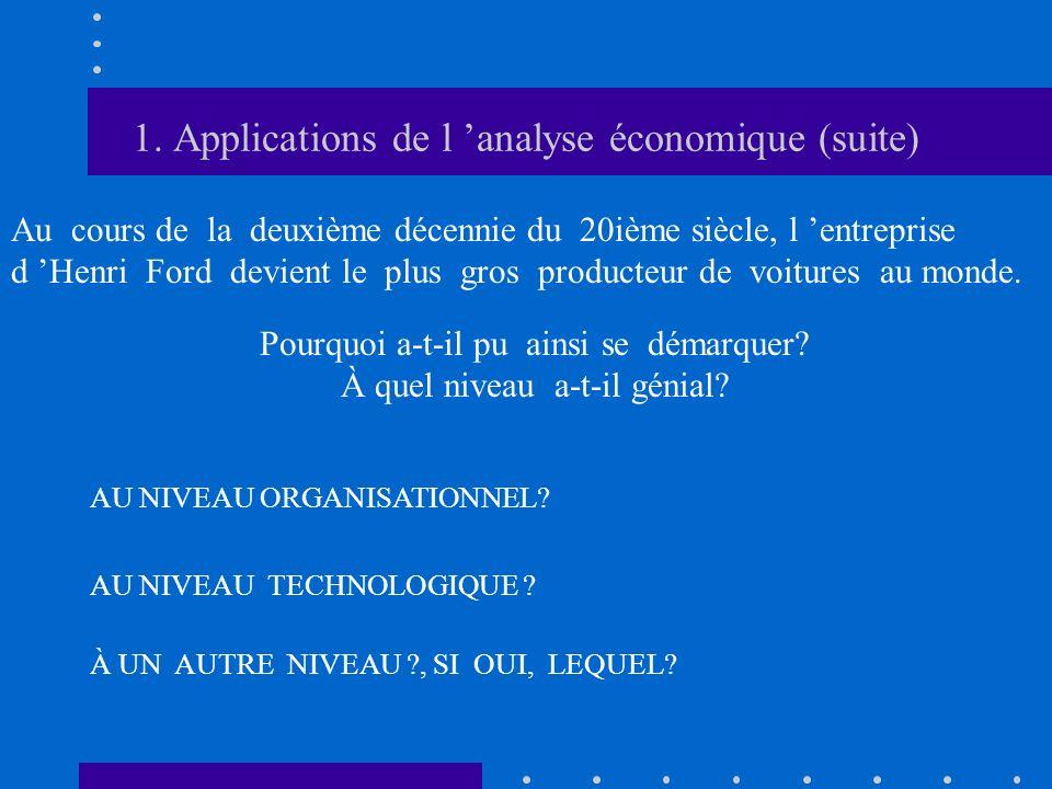 1. Applications de l analyse économique (suite) Au cours de la deuxième décennie du 20ième siècle, l entreprise d Henri Ford devient le plus gros prod
