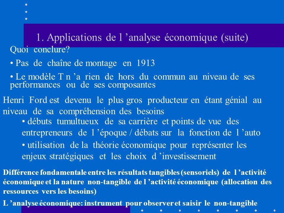 1. Applications de l analyse économique (suite) Quoi conclure? Pas de chaîne de montage en 1913 Le modèle T n a rien de hors du commun au niveau de se