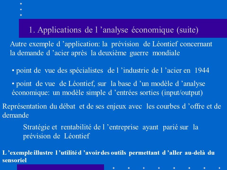 1. Applications de l analyse économique (suite) Autre exemple d application: la prévision de Léontief concernant la demande d acier après la deuxième