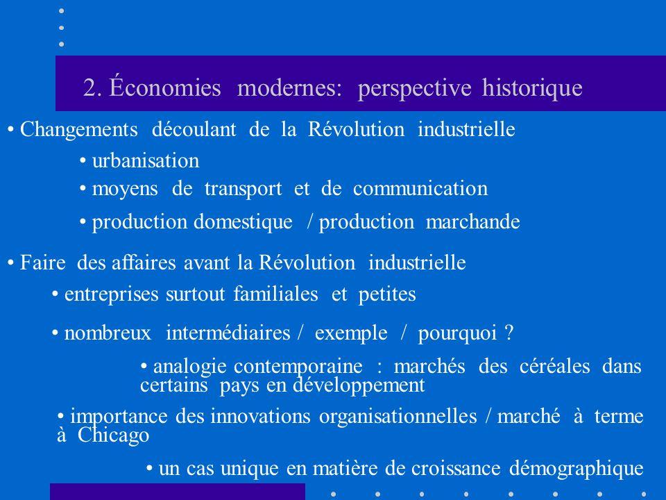 2. Économies modernes: perspective historique Changements découlant de la Révolution industrielle urbanisation Faire des affaires avant la Révolution