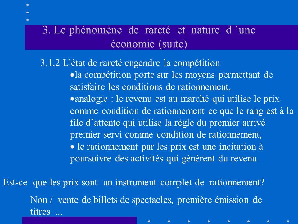 3. Le phénomène de rareté et nature d une économie (suite) 3.1.2 Létat de rareté engendre la compétition la compétition porte sur les moyens permettan