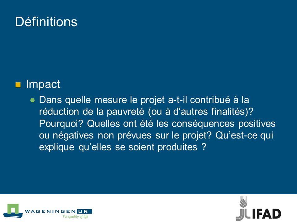 Définitions Impact Dans quelle mesure le projet a-t-il contribué à la réduction de la pauvreté (ou à dautres finalités)? Pourquoi? Quelles ont été les
