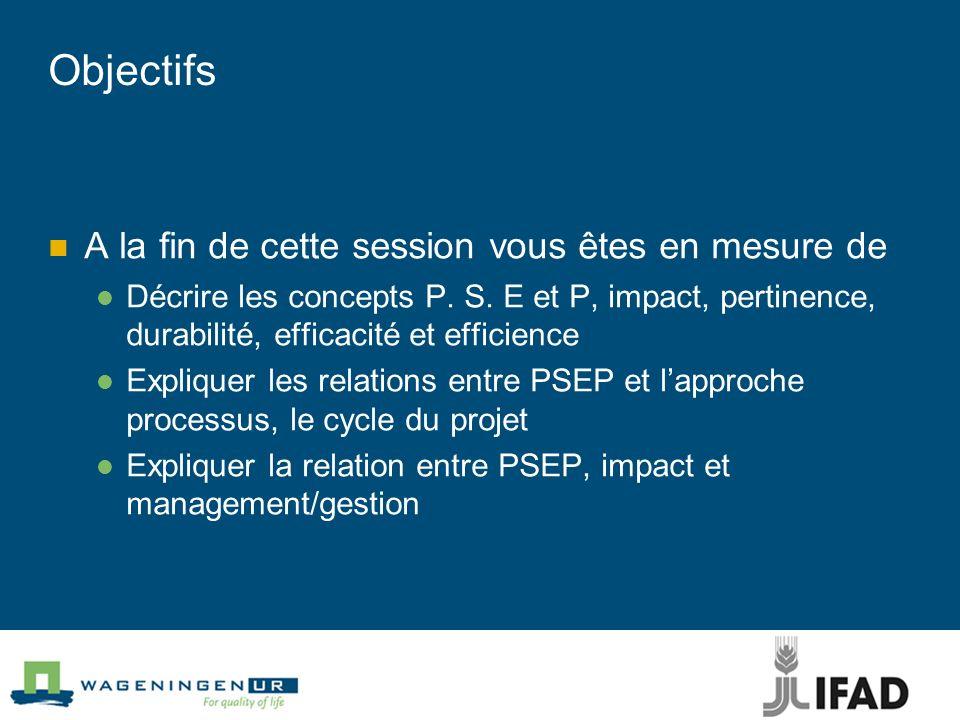 Objectifs A la fin de cette session vous êtes en mesure de Décrire les concepts P. S. E et P, impact, pertinence, durabilité, efficacité et efficience