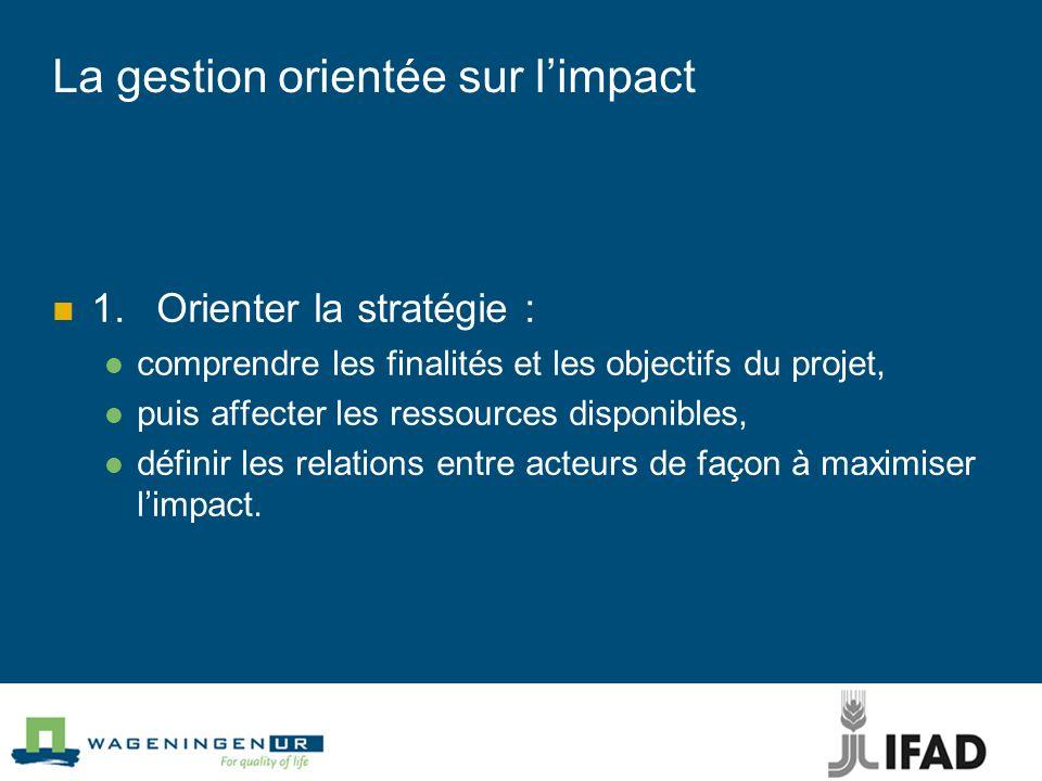 La gestion orientée sur limpact 1.Orienter la stratégie : comprendre les finalités et les objectifs du projet, puis affecter les ressources disponible