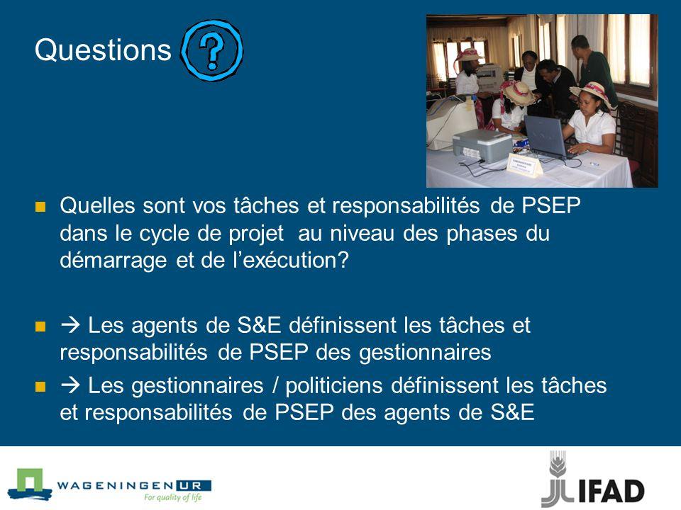 Questions Quelles sont vos tâches et responsabilités de PSEP dans le cycle de projet au niveau des phases du démarrage et de lexécution? Les agents de