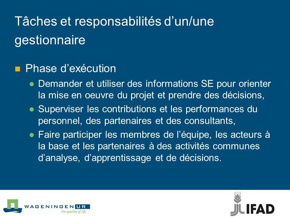Tâches et responsabilités dun/une gestionnaire Phase dexécution Demander et utiliser des informations SE pour orienter la mise en oeuvre du projet et
