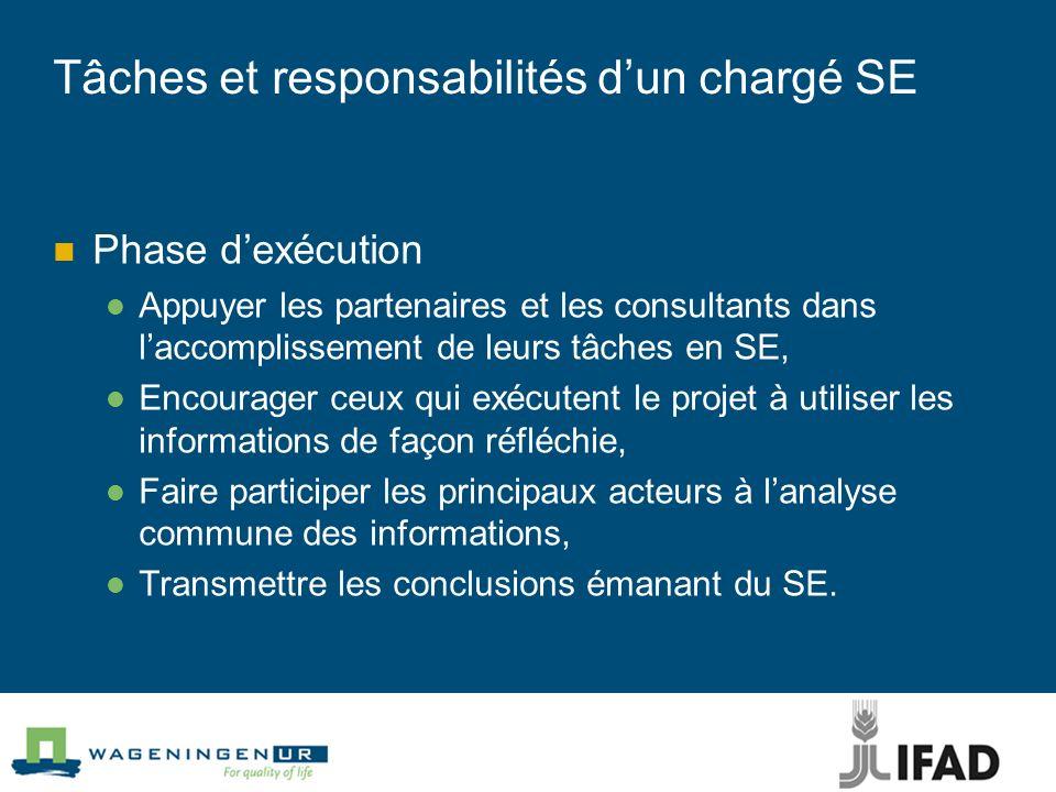 Tâches et responsabilités dun chargé SE Phase dexécution Appuyer les partenaires et les consultants dans laccomplissement de leurs tâches en SE, Encou