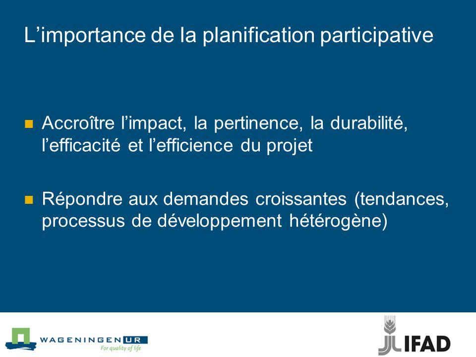 Limportance de la planification participative Accroître limpact, la pertinence, la durabilité, lefficacité et lefficience du projet Répondre aux deman