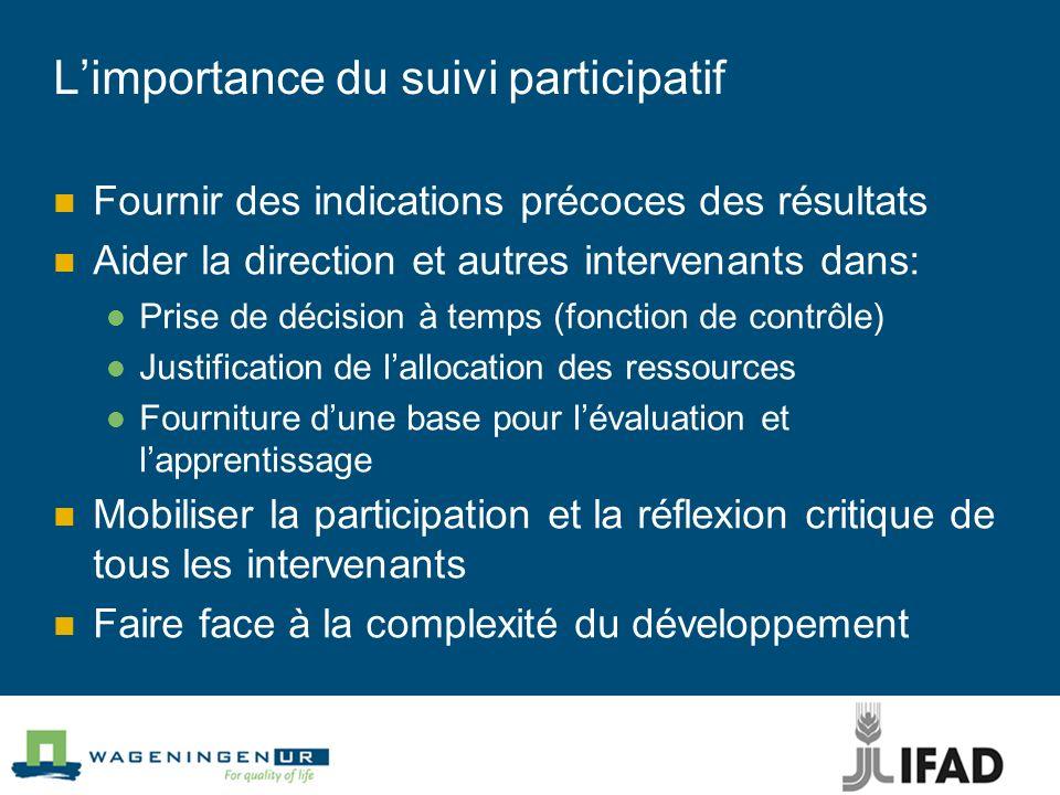 Limportance du suivi participatif Fournir des indications précoces des résultats Aider la direction et autres intervenants dans: Prise de décision à t