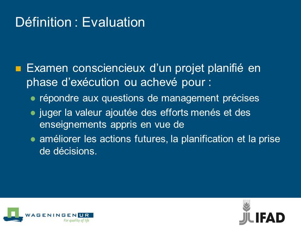 Définition : Evaluation Examen consciencieux dun projet planifié en phase dexécution ou achevé pour : répondre aux questions de management précises ju