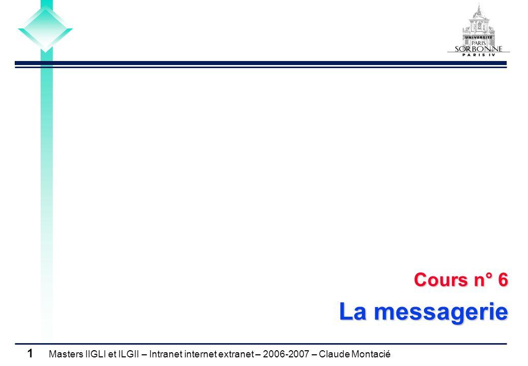 Masters IIGLI et ILGII – Intranet internet extranet – 2006-2007 – Claude Montacié 1 Cours n° 6 La messagerie