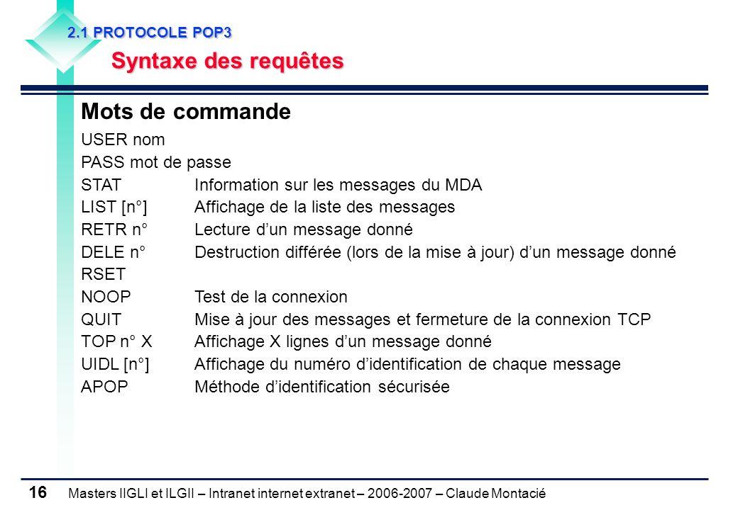 Masters IIGLI et ILGII – Intranet internet extranet – 2006-2007 – Claude Montacié 16 2.1 PROTOCOLE POP3 2.1 PROTOCOLE POP3 Syntaxe des requêtes Syntaxe des requêtes Mots de commande USER nom PASS mot de passe STATInformation sur les messages du MDA LIST [n°]Affichage de la liste des messages RETR n°Lecture dun message donné DELE n°Destruction différée (lors de la mise à jour) dun message donné RSET NOOPTest de la connexion QUIT Mise à jour des messages et fermeture de la connexion TCP TOP n° XAffichage X lignes dun message donné UIDL [n°] Affichage du numéro didentification de chaque message APOPMéthode didentification sécurisée