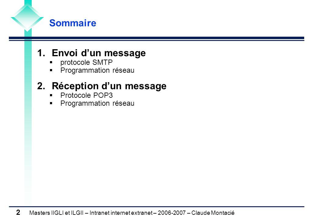 Masters IIGLI et ILGII – Intranet internet extranet – 2006-2007 – Claude Montacié 2 1.Envoi dun message protocole SMTP Programmation réseau 2.Réception dun message Protocole POP3 Programmation réseau Sommaire