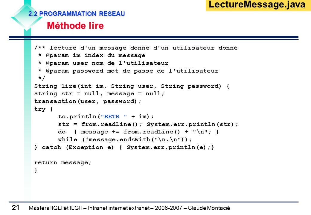 Masters IIGLI et ILGII – Intranet internet extranet – 2006-2007 – Claude Montacié 21 2.2 PROGRAMMATION RESEAU 2.2 PROGRAMMATION RESEAU Méthode lire Mé