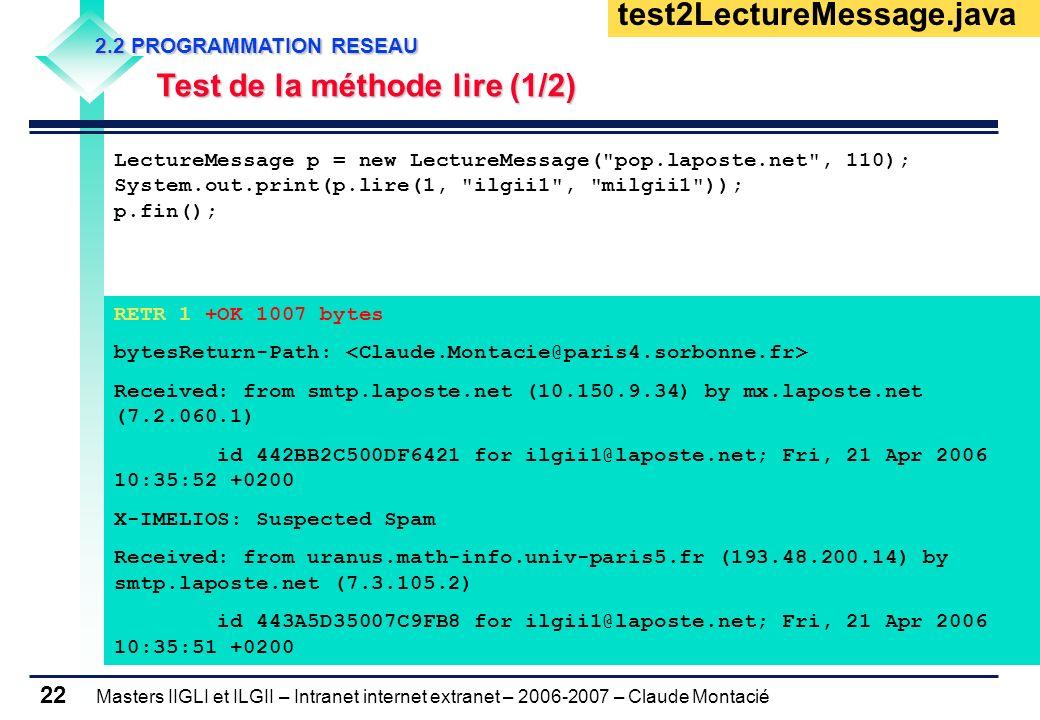 Masters IIGLI et ILGII – Intranet internet extranet – 2006-2007 – Claude Montacié 22 2.2 PROGRAMMATION RESEAU 2.2 PROGRAMMATION RESEAU Test de la méth
