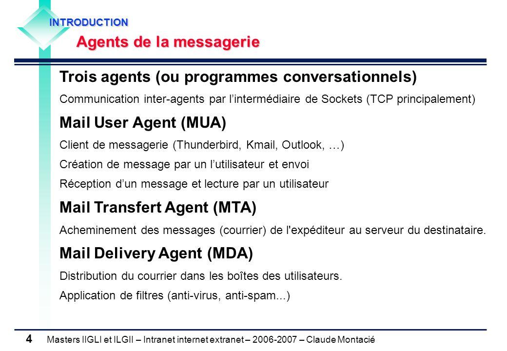 Masters IIGLI et ILGII – Intranet internet extranet – 2006-2007 – Claude Montacié 4 Trois agents (ou programmes conversationnels) Communication inter-agents par lintermédiaire de Sockets (TCP principalement) Mail User Agent (MUA) Client de messagerie (Thunderbird, Kmail, Outlook, …) Création de message par un lutilisateur et envoi Réception dun message et lecture par un utilisateur Mail Transfert Agent (MTA) Acheminement des messages (courrier) de l expéditeur au serveur du destinataire.