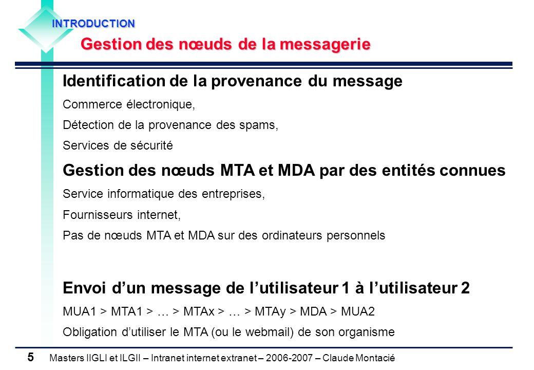 Masters IIGLI et ILGII – Intranet internet extranet – 2006-2007 – Claude Montacié 5 INTRODUCTION INTRODUCTION Gestion des nœuds de la messagerie Gesti