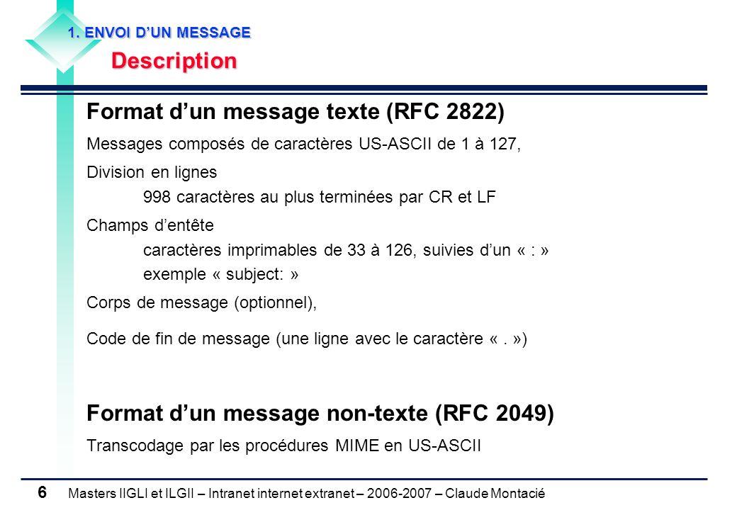 Masters IIGLI et ILGII – Intranet internet extranet – 2006-2007 – Claude Montacié 6 1. ENVOI DUN MESSAGE 1. ENVOI DUN MESSAGE Description Description