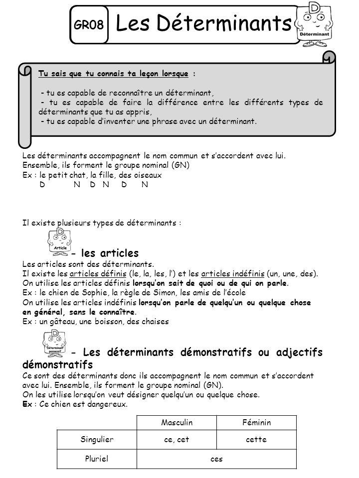 GR08 Les Déterminants Les déterminants accompagnent le nom commun et saccordent avec lui. Ensemble, ils forment le groupe nominal (GN) Ex : le petit c