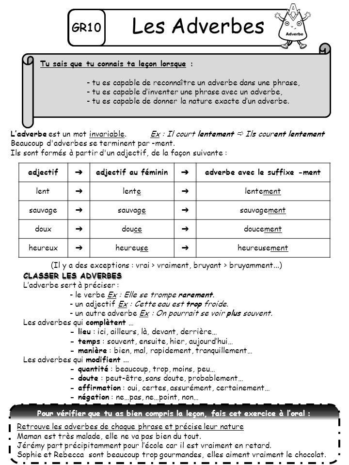 GR10 Les Adverbes Ladverbe est un mot invariable.Ex : Il court lentement Ils courent lentement Beaucoup d'adverbes se terminent par -ment. Ils sont fo