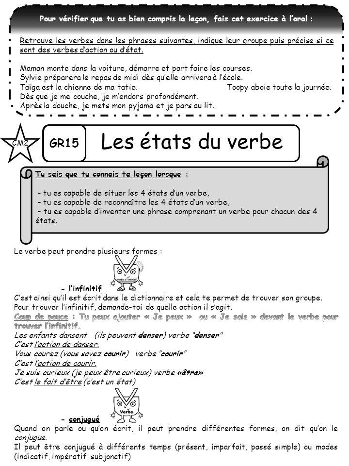 Pour vérifier que tu as bien compris la leçon, fais cet exercice à loral : Retrouve les verbes dans les phrases suivantes, indique leur groupe puis pr