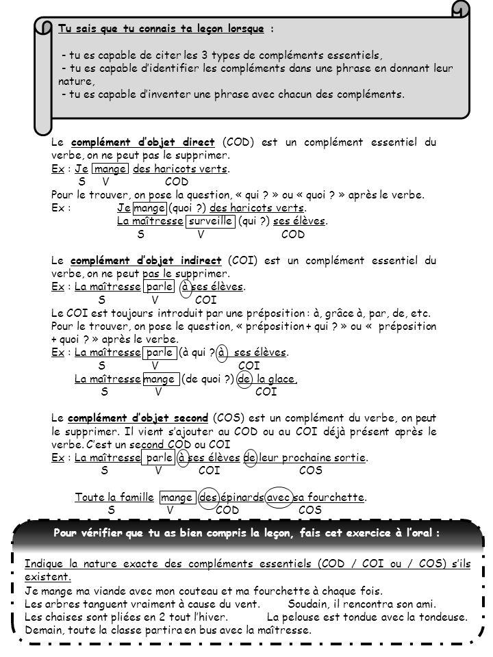 Le complément dobjet direct (COD) est un complément essentiel du verbe, on ne peut pas le supprimer. Ex : Je mange des haricots verts. S V COD Pour le