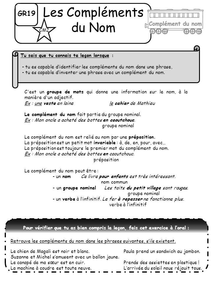 GR19 Les Compléments du Nom C'est un groupe de mots qui donne une information sur le nom, à la manière d'un adjectif. Ex : une veste en laine le cahie