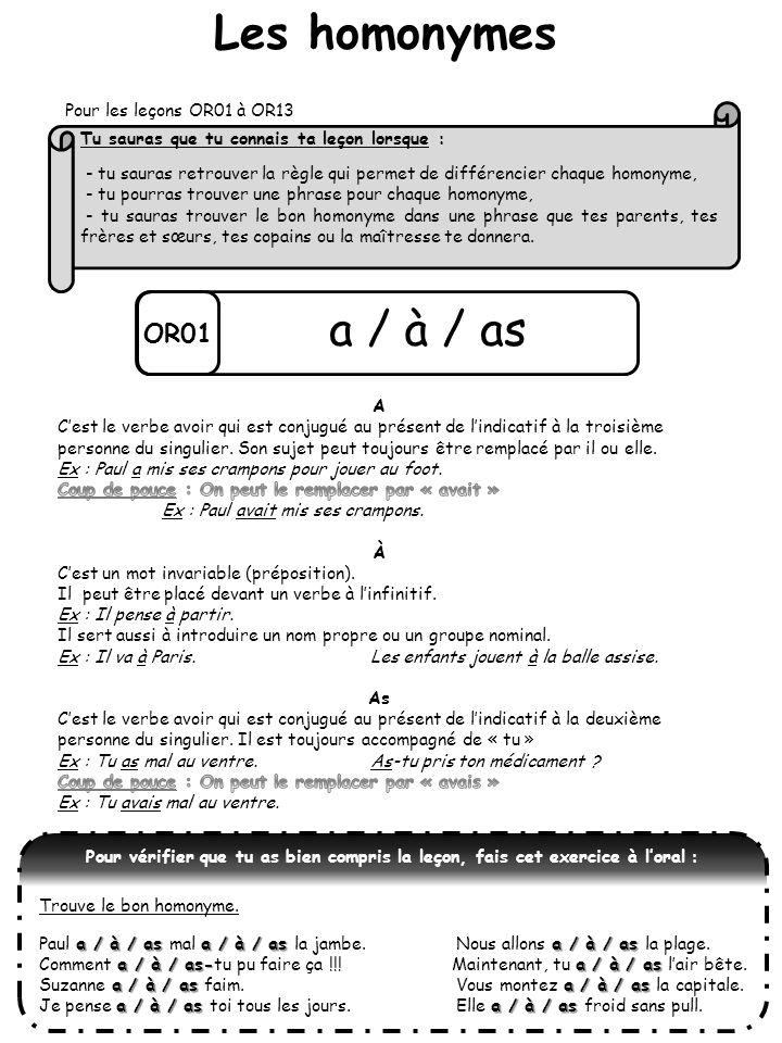 Les homonymes Pour les leçons OR01 à OR13 Tu sauras que tu connais ta leçon lorsque : - tu sauras retrouver la règle qui permet de différencier chaque